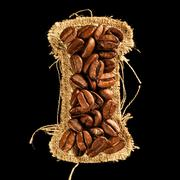alphabet from coffee beans on fabric texture isolated on black - stock photo