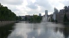 Den Haag fountain - 4K - stock footage