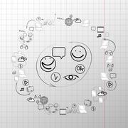 Doodle design vector set concept  for cooperation - stock illustration