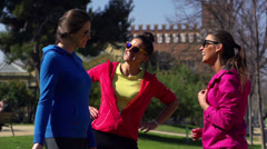 Happy joggers talking in park, slow motion shot at 240fps, steadycam shot Stock Footage