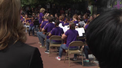 Outdoor concert musicians and audience Stock Footage