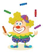 Circus clown juggling candies Stock Illustration