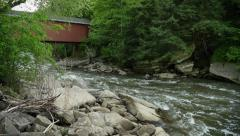 4K Waterfall and Covered Bridge at McConnells Mill State Park 4356 Stock Footage