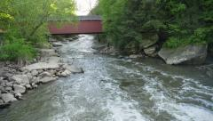 4K Waterfall and Covered Bridge at McConnells Mill State Park 4370 Stock Footage