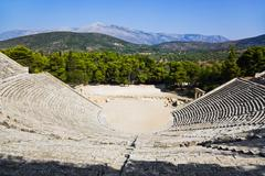 Ruins of Epidaurus amphitheater, Greece Stock Photos