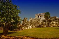 Famous archaeological ruins of Tulum in Mexico Stock Photos