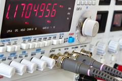 Buttons and coaxial connctors of laboratory function generator w Stock Photos
