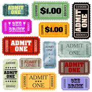 Tickets in different styles template set. EPS 8 Stock Illustration