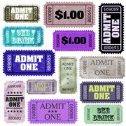 Set of ticket admit one. EPS 8 - stock illustration