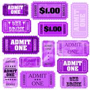 Violet set of ticket admit one. EPS 8 - stock illustration