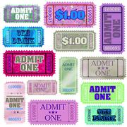 Set of ticket admit one. EPS 8 Stock Illustration