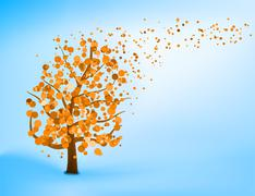 Blue orange abstract tree template. EPS 8 - stock illustration