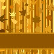 Gold autumn background with leaves. EPS 8 Stock Illustration