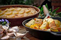 Roasted potato in a frying pan Stock Photos