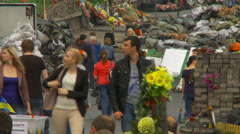 Maidan clashes commemoration 11 - stock footage