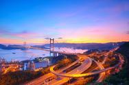 Sunset at Tsing Ma Bridge Stock Photos