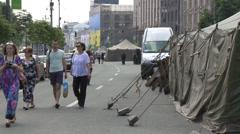 Maidan clashes commemoration 13 Stock Footage