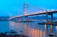 Tsing ma bridge sunset Stock Photos