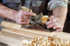 Joinery workshop with wood Stock Photos