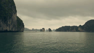 Stock Video Footage of Ha long Bay, panoramic landscape view. Famous tourist travel destination.