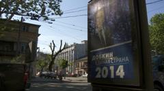 Ukrainian election billboard Stock Footage