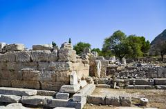 Ruins of temple in Corinth Stock Photos