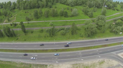 Flight along the highway .Aerial top view Stock Footage
