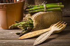 green Asparagus - stock photo