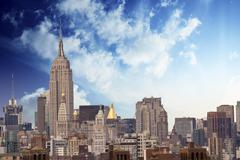 Clouds above New York City Skyscrapers - stock photo