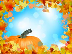 Stock Illustration of Fall leaves with pumpkin and sky background. EPS 8