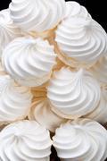 Close up of french vanilla meringue cookies Stock Photos
