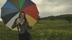 Happy In the Rain Young Woman Joyful Overcast Weather Stock Footage