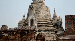 One of the chedis at the ruins of Ayutthaya. - stock footage