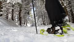 Mountain Hiking Man with Snowshoes Walking Winter Forest Stock Footage