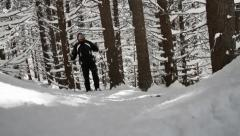 Traveler Backpacker Walking Snow Forest Survivor Success Concept Stock Footage