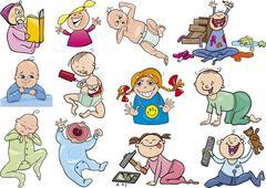 cartoon babies and children set - stock illustration
