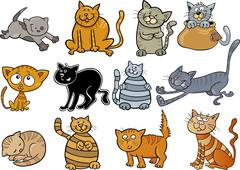 Stock Illustration of cartoon cats set