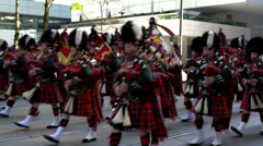 Bagpipe procession - Toronto Canada Stock Footage