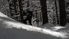 Outdoor Hiker Snow Winter Mountain Surviving Adversity Concept Stock Footage