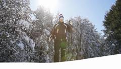 Handsome Young Man Walking Snow Mountain Success in Adversity Stock Footage