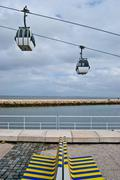 Cable car above the Tejo Stock Photos