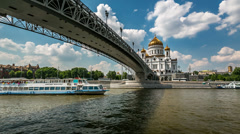 Cathedral of Christ the Saviour and Moscow River Embankment, Timelapse Video Stock Footage