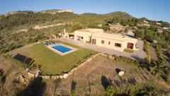 Luxury Holiday Finca with Private Pool Flyover - Aerial Flight, Mallorca Stock Footage