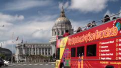 City Sightseeing San Francisco bus tour at Civic Center Plaza. Stock Footage