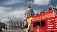 Stock Video Footage of City Sightseeing San Francisco bus tour at Civic Center Plaza.