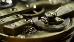 Stock video footage Old Stopwatch Clock Gears Mechanism 4k Stock Footage