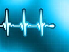 Heart cardiogram with shadow on deep blue. EPS 8 Stock Illustration