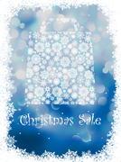 Snowflake gift bag on blue background. EPS 8 Stock Illustration