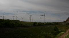 Tracks Pan Wind Farm 4K UHD - stock footage