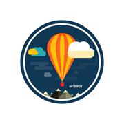 hot air balloon flying over the mountain - stock illustration